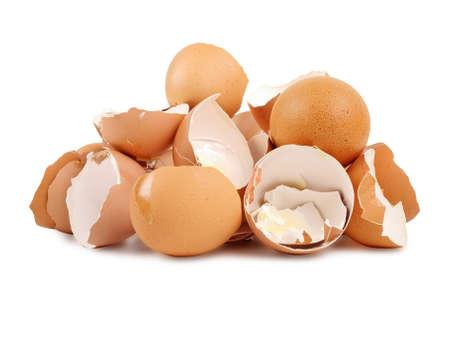 Heap of broken egg shells, studio shot