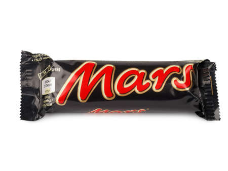 mars incorporated: PULA, CROATIA - MARCH 13, 2016: Mars chocolate bar isolated on white background. Mars bars are produced by Mars Incorporated. The first Mars bar was produced in England in 1932