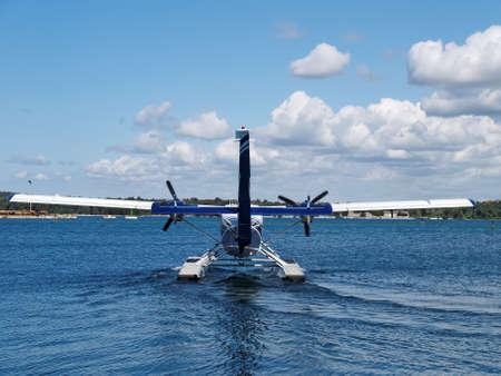 hydroplane: seaplane prepare for take off, back side view