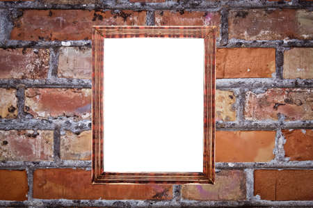 red brick: vintage picture frame on red brick wall