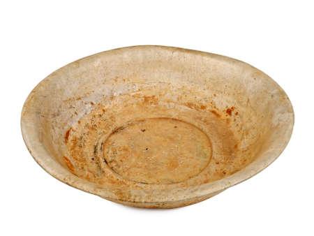 washbasin: old rusty aluminum wash-basin isolated on white background, studio shot Stock Photo