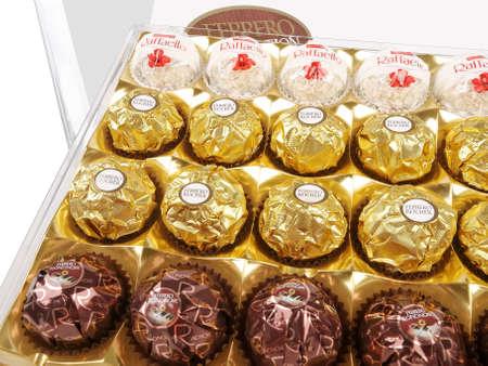 ferrero: PULA, CROATIA - MAY 14, 2016: Ferrero Chocolates Collection on a white background. Ferrero is brand of Italian chocolate. Editorial