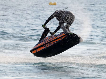 jetski: FAZANA, CROATIA - MAY 21, 2016: Competition Jetski Freestyle, Alpe Adria Jet Ski Tour - First race of Croatian aquabike championship 2016, in Fazana, Croatia. Editorial