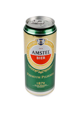 pilsener: PULA, CROATIA - OCTOBER 3, 2016: Amstel Premium Pilsener is an internationally known brand of beer produced by Heineken International in Zoeterwoude, Netherlands.