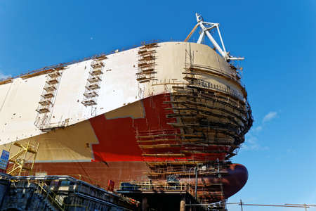 shipbuilder: ship construct on shipway in shipyard