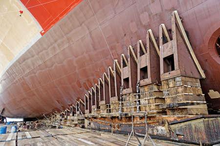 shipway: new ship ready for launching in shipyard