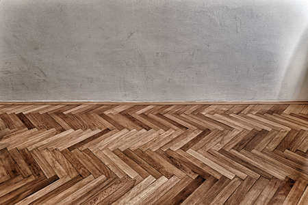 parquet floor and grunge wall Stock Photo