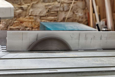 turning table: professional circular saw blade, side view Stock Photo