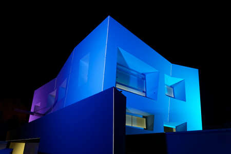 illuminated exterior of abstract building Editorial