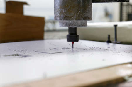 cnc machine and drill ready for cutting Stock Photo