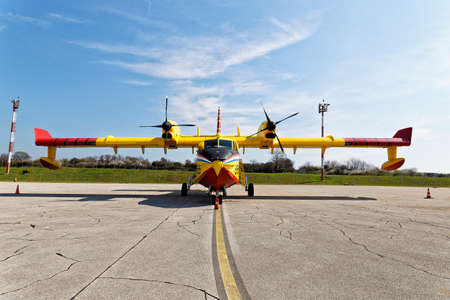 PULA, CROATIA - MARCH 25, 2017: Bombardier CL-415 water bomber aircraft on exhibition in Pula airport during 50. years of anniversary of first commercial flight in Pula Editorial