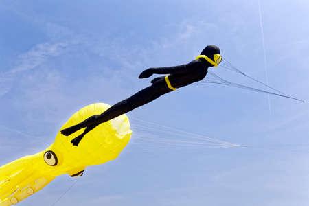 PEROJ, CROATIA - JUNE 24, 2017: First international  kite festival FLYin Fest on beach Martulina from June, 23--25, 2017. Editorial