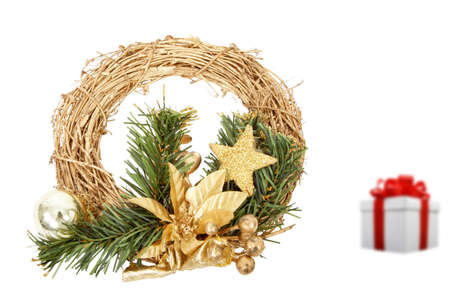christmas chaplet and gift box isolated on a white background