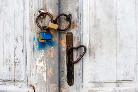 locked, wooden door, front view