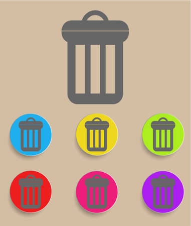 scrapyard: Trash can icon with color variations Illustration