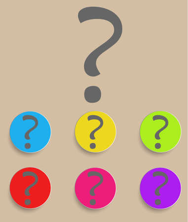 Question mark sign icon. Help symbol. FAQ sign. Round colourful buttons. Vector