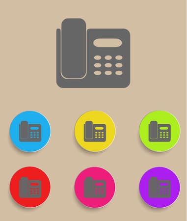 Icon of phone isolated on Colourful background Vector