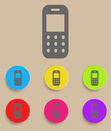 mobil: Mobile phone – Vector icon with color variations Illustration