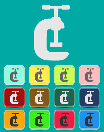 G Clamp Icon Illustration with Color Variations