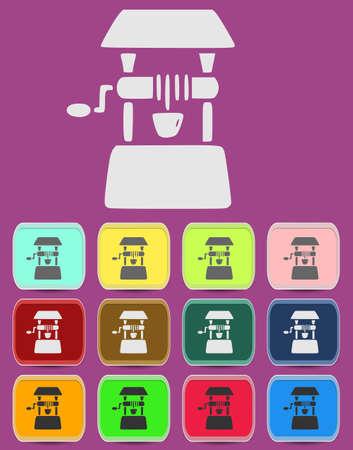 Well icon Illustration with Color Variations Ilustração
