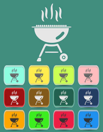 barbecue grill icon Illustration with Color Variations