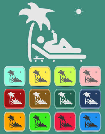 relax under an palm on a lounger Stock Vector - 29161045