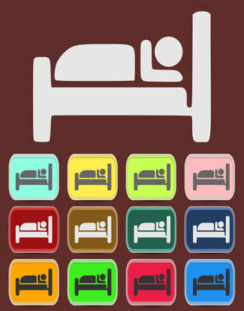 accomodation: Icon, Button, Pictogram with Hotel, Lodging symbol Illustration