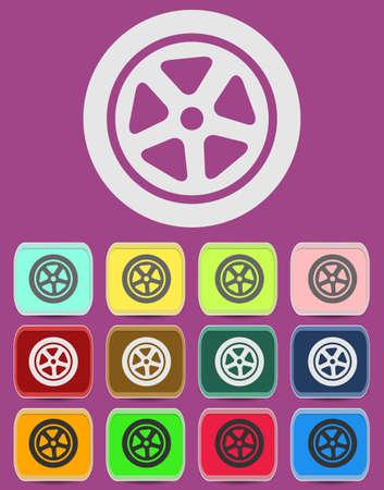 Auto wheel tire icon isolated Vector