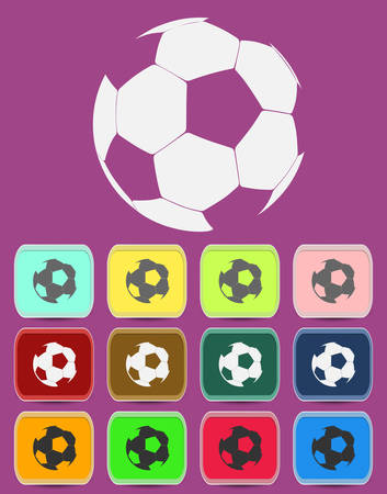 foot ball: Creative Soccer Ball Icon with color variations