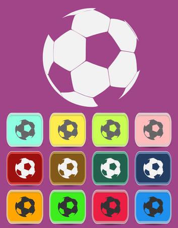 balon de futbol: Icono del balón de fútbol creativo con variaciones de color Vectores