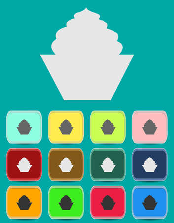 Cake sign icon. Round colourful 12 buttons. Vector