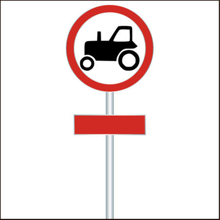 tractor warning sign: Tractor Sign on White