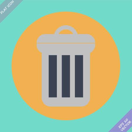 scrapyard: Trash can icon - vector illustration  Flat design element Illustration