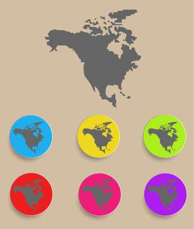 north america map: Mappa del Nord America - icona isolato illustrazione vettoriale