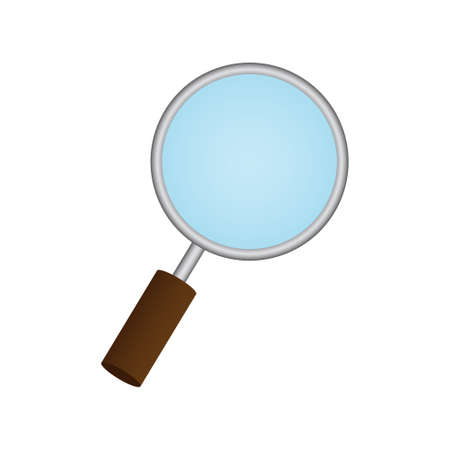 low scale magnification: Magnifying Glass on white background