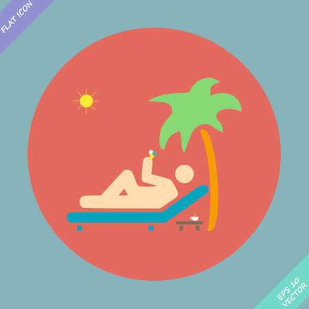 palm reading: Relax under an palm on a lounger - illustration  Flat design element