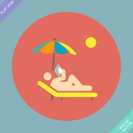 woman lying down: relajarse bajo una sombrilla en una tumbona