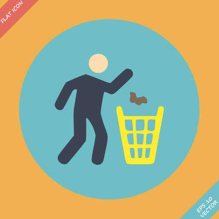 botar basura: Tirar basura signo ic�nico elemento de dise�o Flat