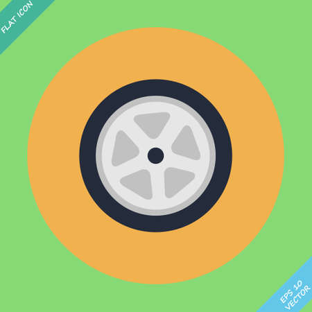 Auto wheel tire illustration  Flat design element Vector