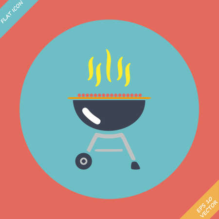 que: Barbecue grill icon illustration  Flat design element
