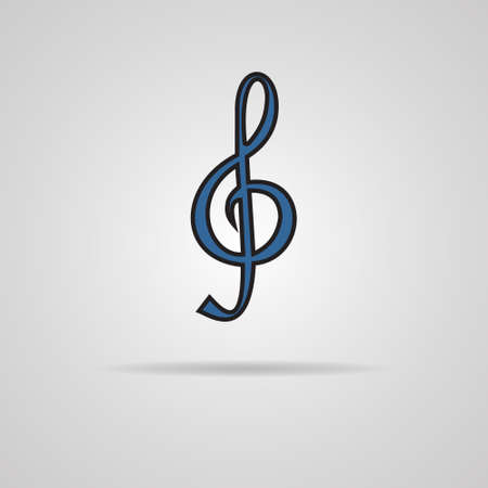 festival scales: Illustration of a blue clef isolated on grey background
