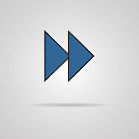 Forward or skip icon with shadow  Media player  Vector