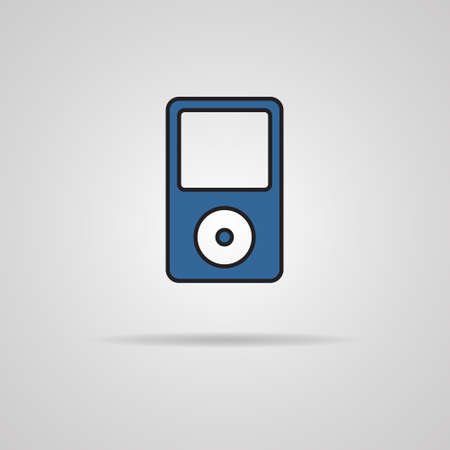 mp4: Portable media player icon on gray background Illustration