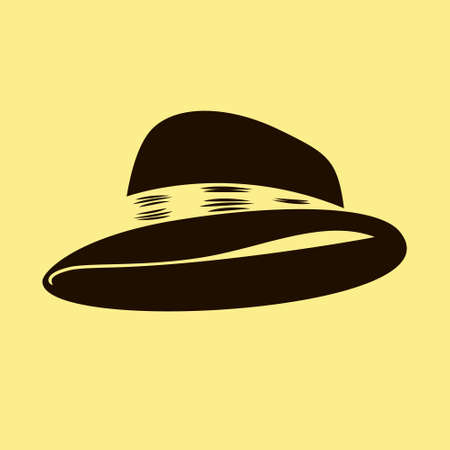 derby hats: bowler hat illustration isolated on yellow  Illustration
