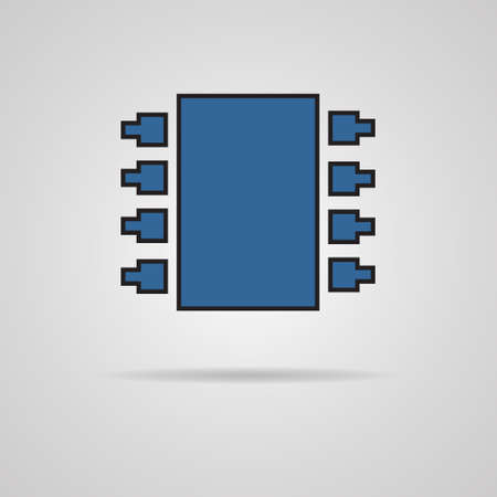 electronic components: Electronic chip  Single flat color icon illustration