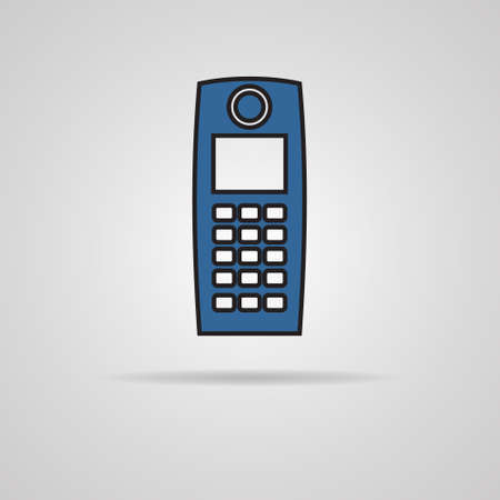 old phone: Old mobile phone illustration on gray background