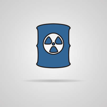 nuclear waste disposal: Radioactive waste barrel icon on gray background Illustration