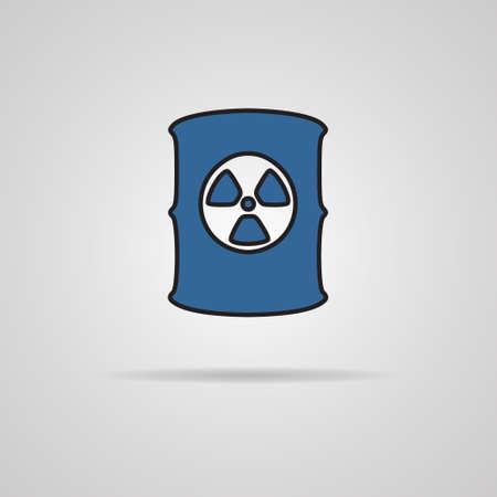 barrel radioactive waste: Radioactive waste barrel icon on gray background Illustration