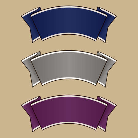 Blue, gray and purple ribbon set  Vector Vector