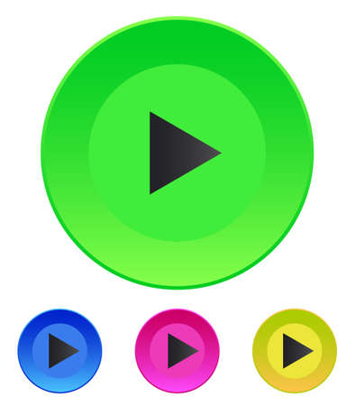 inactive: Set of round colored buttons  vector illustration Vector icon Play button web icon Illustration